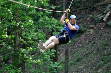 simha ziplining on the smokys